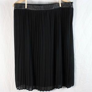 Mossimo sheer black pleated midi skirt EUC